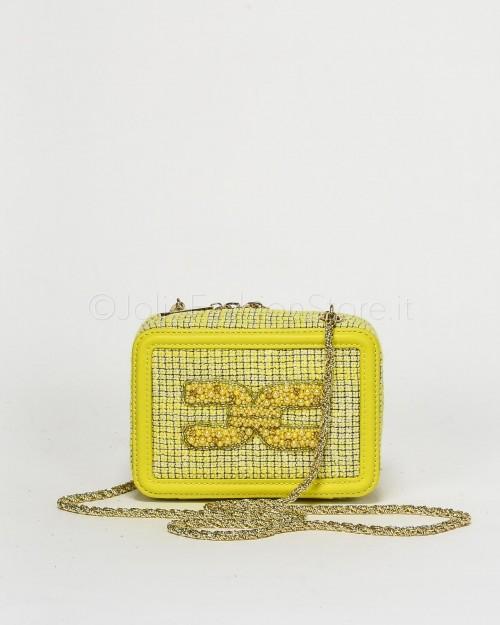 Elisabetta Franchi Mini Pochette con Logo Perline Gialla
