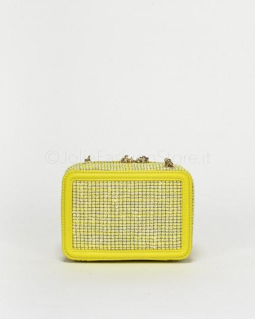 Elisabetta Franchi Mini Pochette con Logo Perline Gialla  BS61A03E2-Y39