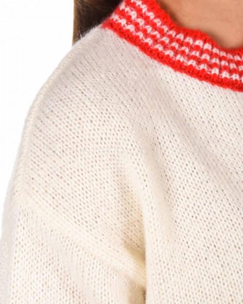 3.7 Maglione Girocollo Panna Con Fascia Rossa  TSI922-BIANCO