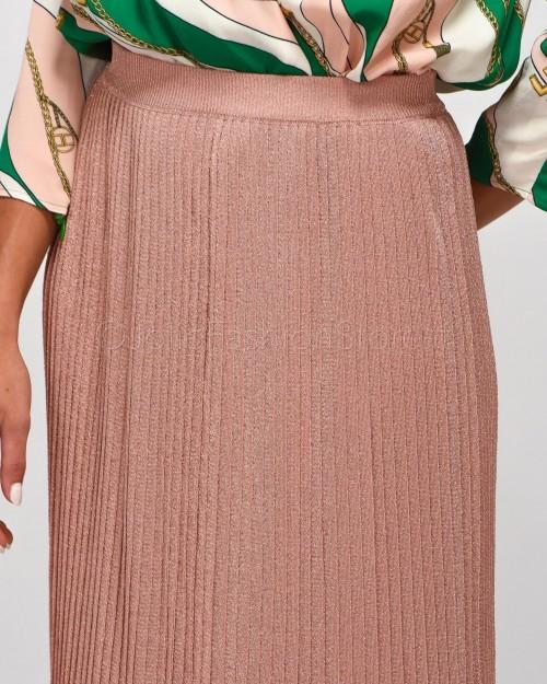 Elisabetta Franchi Gonna Plissè Rosa Lurex  GK11S02E2-153