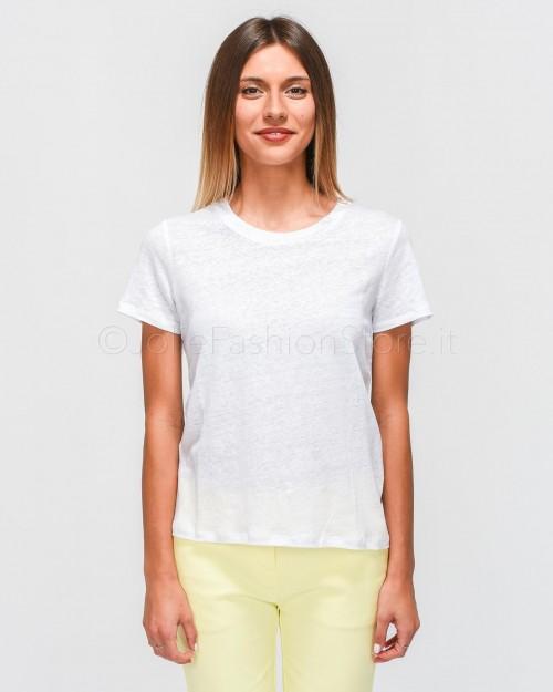 Not Shy T-Shirt Girocollo in Lino Bianca  3605003-BIANCO
