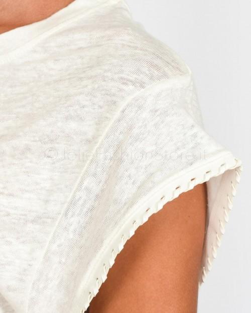 Not Shy T-Shirt Lino Bianca con Dettaglio Manica  3605251-BIANCO