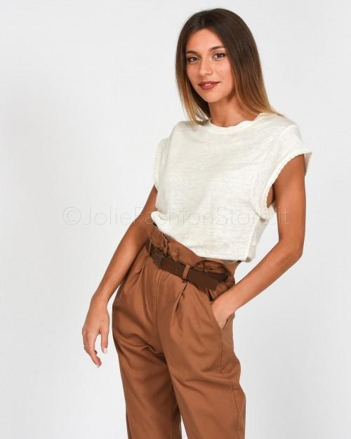 Not Shy T-Shirt Lino Bianca con Dettaglio Manica