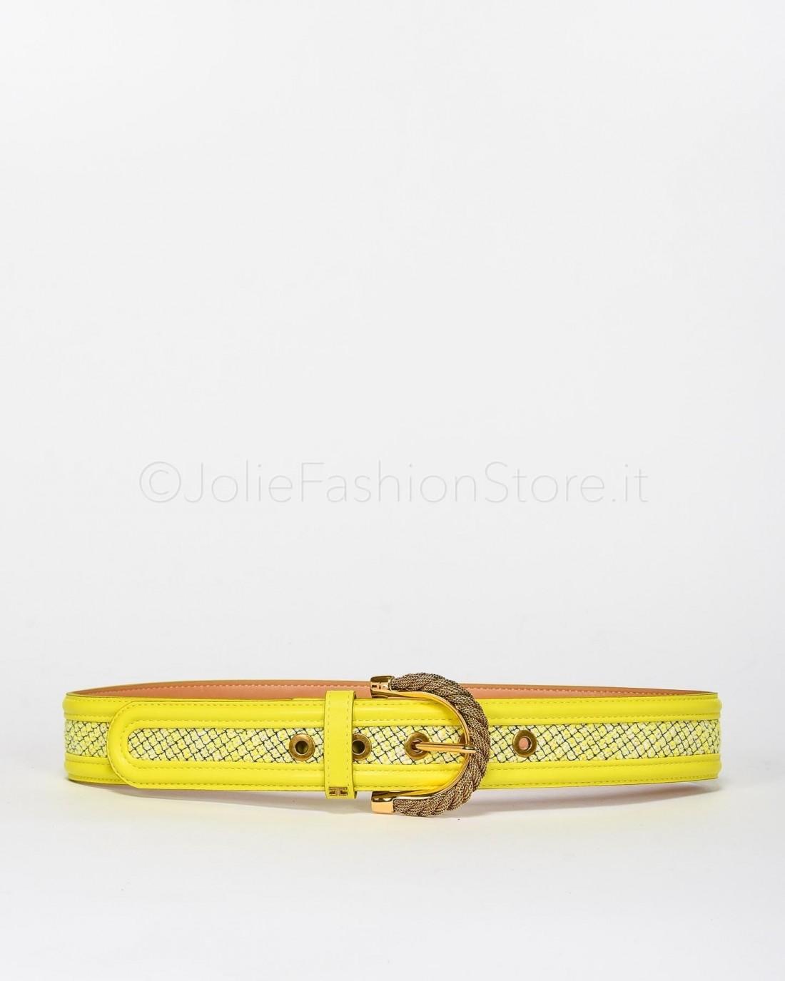 Elisabetta Franchi Cintura Gialla in Tessuto con Fibbia  CT25S03E2-Y39
