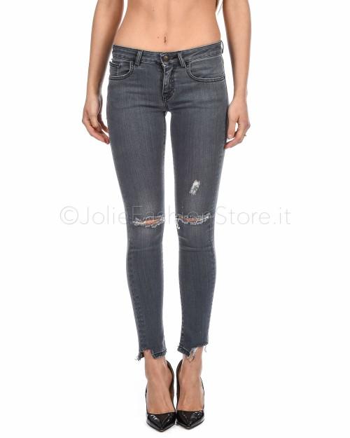 (O)ff-Fear Jeans Grigio Con Strappi