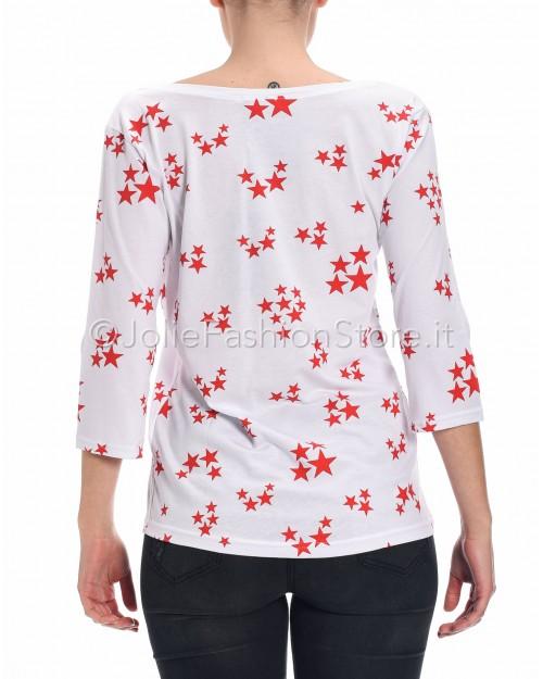 Jolie Crew T-Shirt Manica a Tre Quarti Bianca con Stelle Rosse  01027_SROSSA