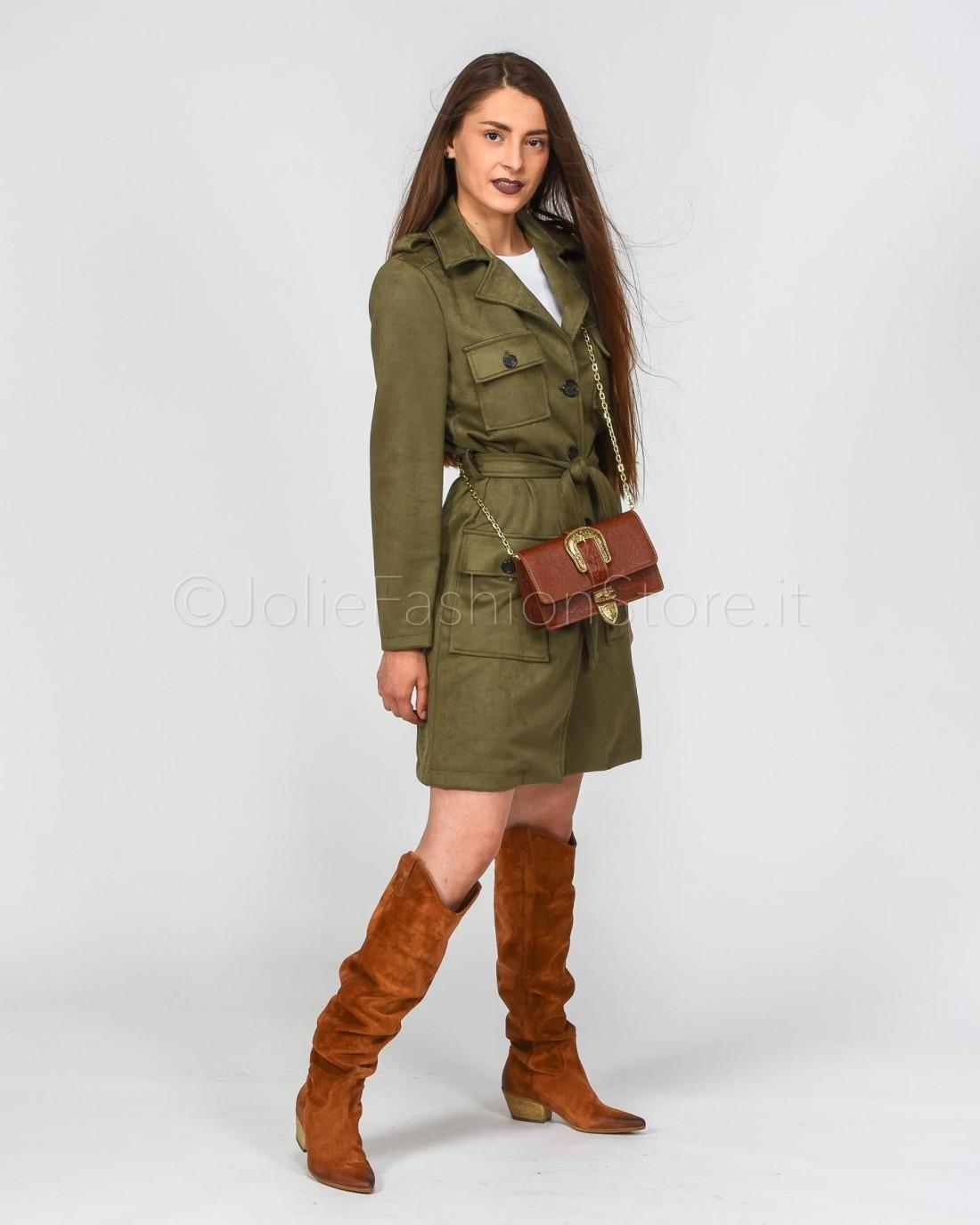 Dixie Trench in Eco Camoscio Verde Militare  SAAOLOQ-MILITARE