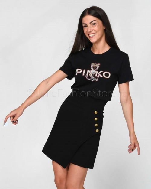 Pinko Landolfo T-Shirt Jersey Di Cotone Nero