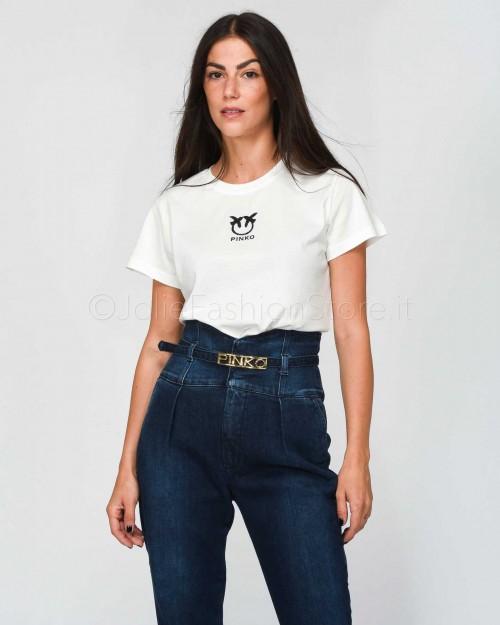 Pinko Bussolano T-Shirt In Jersey Bianco