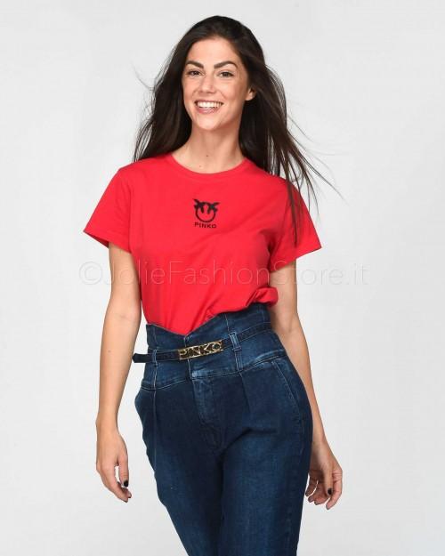 Pinko Bussolano T-Shirt In Jersey Rosso Puro