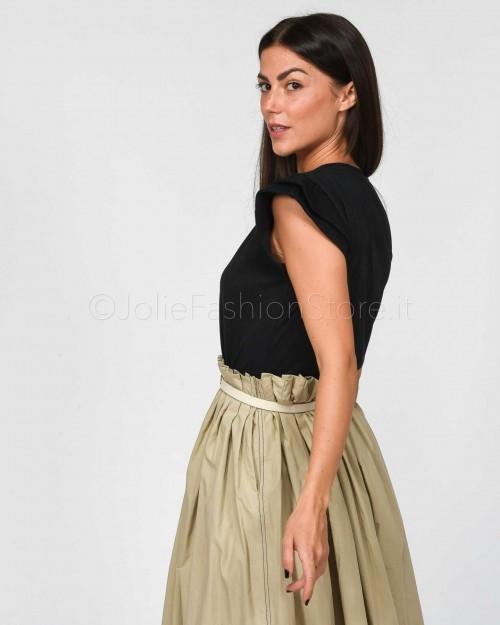 Jolie Crew T-Shirt Nera Rouches