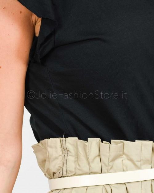 Jolie Crew T-Shirt Nera Rouches  1975/NERO