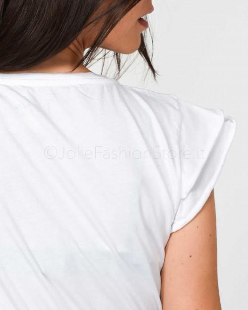 Jolie Crew T-Shirt Bianco Rouches  1975/BIANCO
