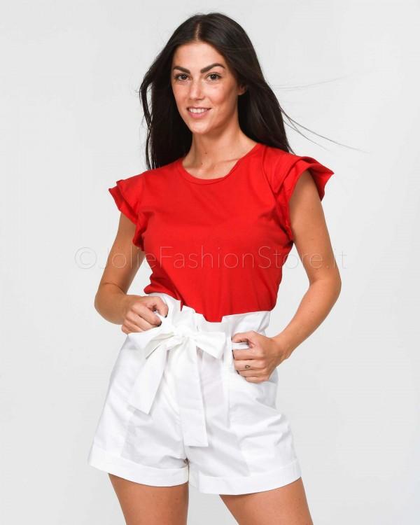 Jolie Crew T-Shirt Rossa Rouches  1975/ROSSO
