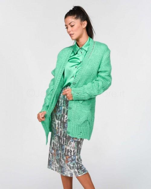 Patrizia Pepe Cardigan con Bottoni Verde Acido
