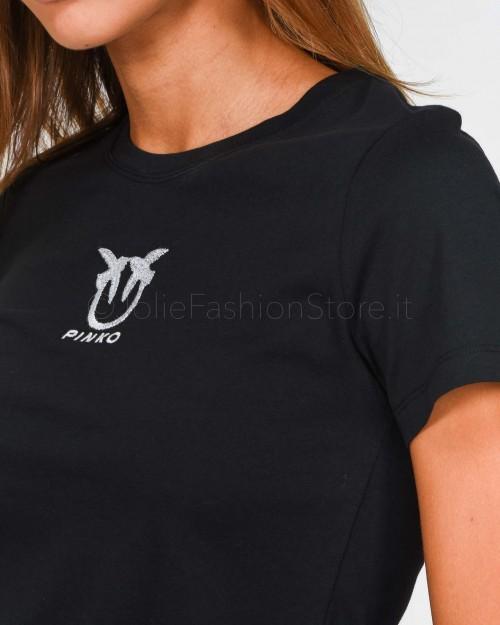 Pinko T-Shirt in Cotone Nera  1G14YX-Z99
