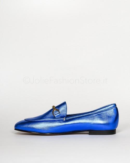 Gio+ Mocassino in Pelle Laminato Bluette  M961-BLUETTE