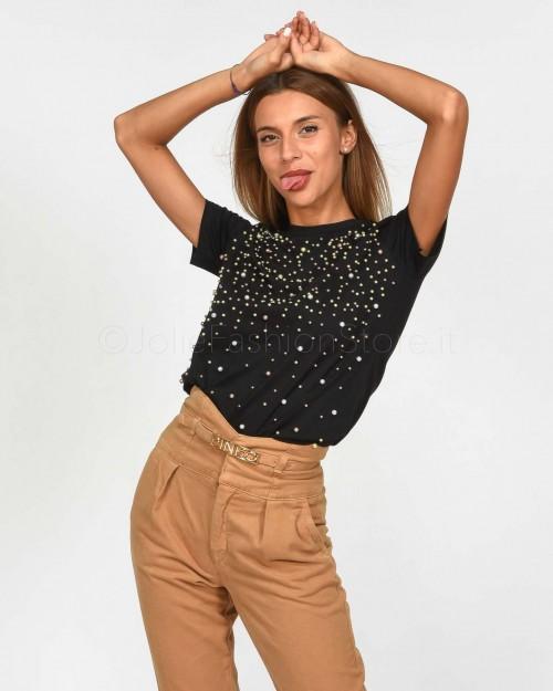 Pinko Demesio T-Shirt Jersey di Cotone Nero