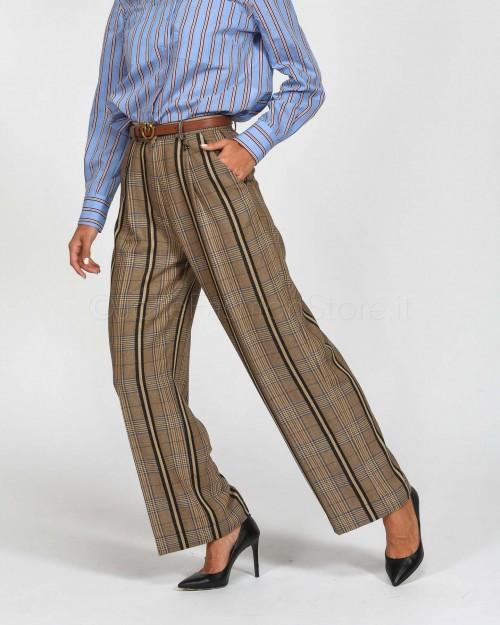 Dixie Pantalone Maschile Scozzese Nero e Beige