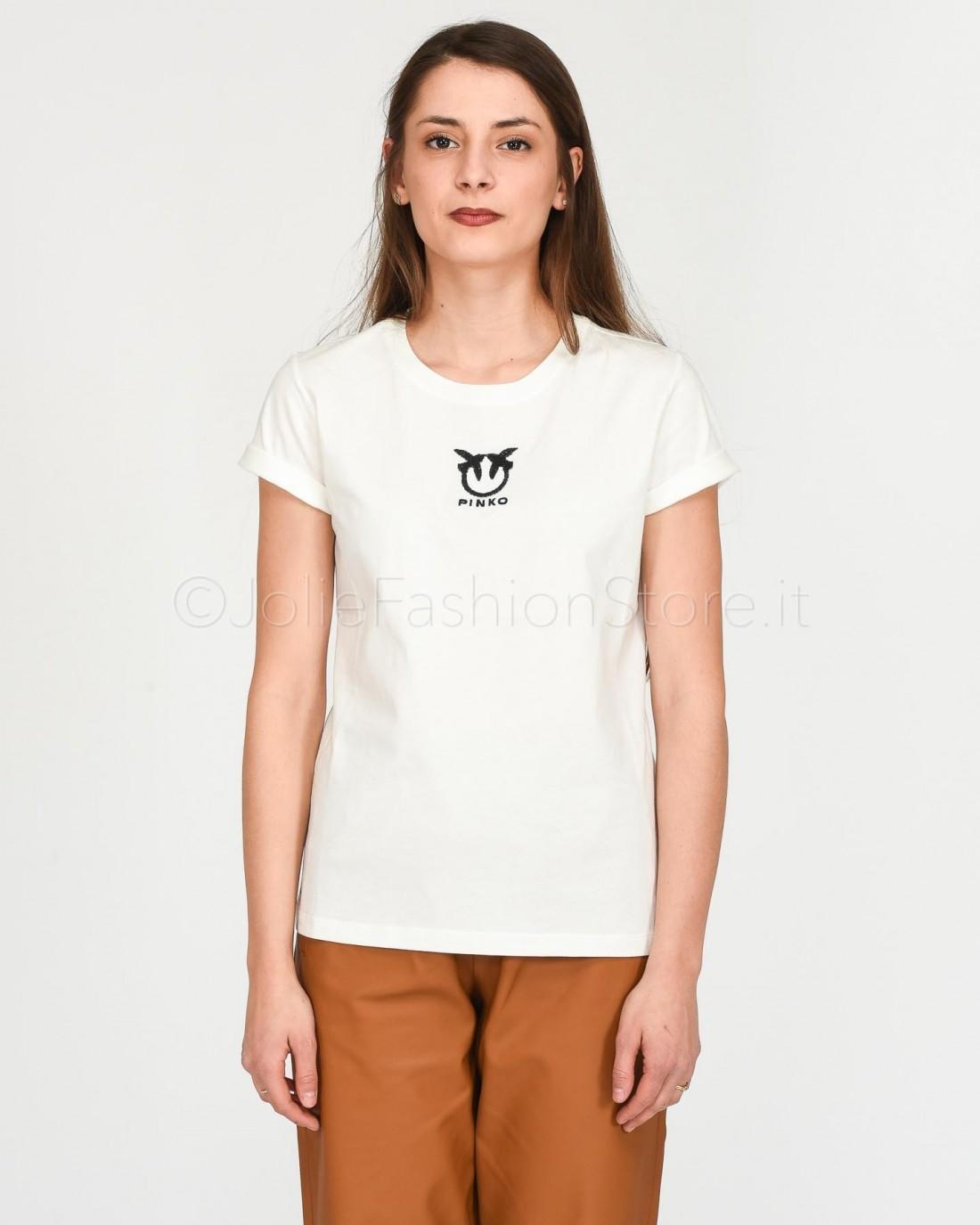 Pinko T-Shirt in Cotone Bianca  1G14YX-Z05