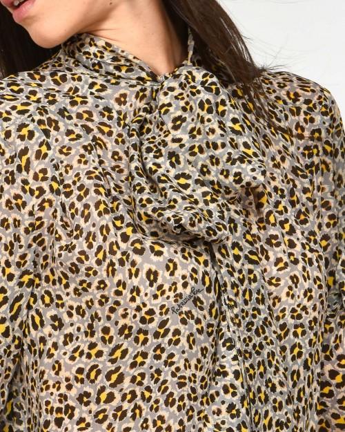 Patrizia Pepe Camicia con Tie-neck Fantasia Animalier  1C1305A9K1-FC04